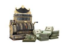 A caixa registadora velha do vintage com dinheiro e 3d rendem na parte traseira do branco Foto de Stock Royalty Free