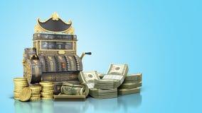 A caixa registadora velha do vintage com dinheiro e 3d rendem no backg azul Imagens de Stock