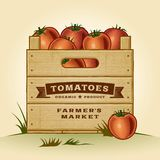 Caixa retro de tomates Fotos de Stock