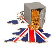Caixa segura com as moedas douradas no mapa do Reino Unido, rendição 3D ilustração royalty free