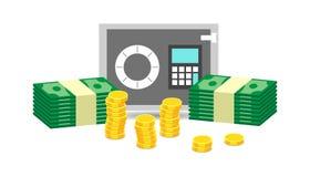 Caixa segura pequena fechado e pilhas de moedas de ouro e pilhas de dinheiro do dólar Foto de Stock