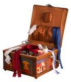 Caixa Sewing isolada no branco Fotos de Stock Royalty Free