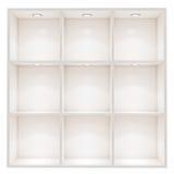 A caixa vazia branca arquiva com a luz do ponto isolada no fundo branco Imagem de Stock