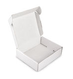 Caixa vazia branca isolada no fundo branco Fotografia de Stock Royalty Free