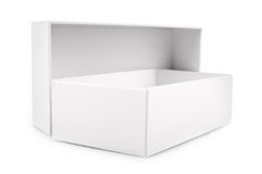 Caixa vazia branca isolada no fundo branco Fotos de Stock