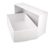 Caixa vazia branca isolada no fundo branco Imagem de Stock