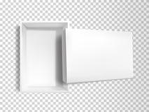 Caixa vazia branca realística do vetor 3d, modelo ilustração do vetor
