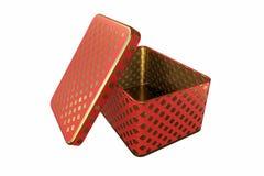 Caixa vazia do metal com a tampa, isolada no fundo branco, rendição 3D Fotografia de Stock