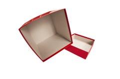 Caixa vazia vermelha no lado com tampa fotografia de stock royalty free