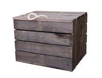 Caixa velha da caixa de madeira do vintage isolada no branco com pancadinha do grampeamento Imagem de Stock Royalty Free