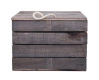 Caixa velha da caixa de madeira do vintage isolada no branco com pancadinha do grampeamento Fotografia de Stock Royalty Free