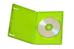 Caixa verde de DVD-CD com disco Imagens de Stock Royalty Free