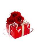 A caixa vermelha com levantou-se Foto de Stock Royalty Free