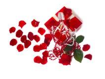 A caixa vermelha com levantou-se Imagens de Stock Royalty Free