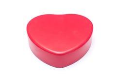 Caixa vermelha da forma do coração isolada imagem de stock