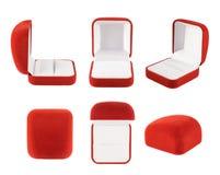 Caixa vermelha de veludo isolada Fotos de Stock