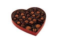 Caixa vermelha do coração de veludo Fotos de Stock
