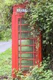 Caixa vermelha do telefone K6 coberta por amoras Fotografia de Stock Royalty Free