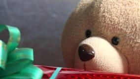 A caixa vermelha festiva com um urso de peluche verde da curva e do brinquedo obtém um presente Jifts e conceito extraordinários  vídeos de arquivo