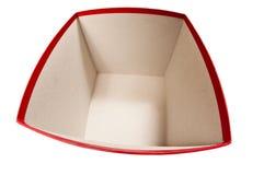 Caixa vermelha largamente aberta isolada em Whte imagens de stock