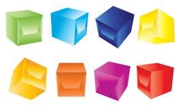 Caixas 3d azuis Fotos de Stock Royalty Free