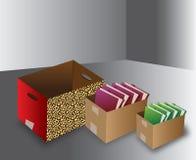 Caixas abertas do escritório com dobrador ilustração do vetor