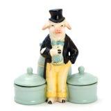 Caixas antigas da porcelana para cosméticos com estatuetas Imagem de Stock Royalty Free