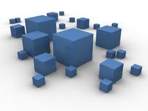 Caixas azuis no caos Imagens de Stock