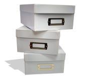 Caixas brancas do arquivo foto de stock