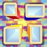 Caixas brilhantes com lugares para o texto no fundo colorido Fotografia de Stock Royalty Free