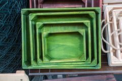 Caixas coloridas da caixa de madeira para a venda Foto de Stock Royalty Free