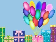 Caixas com os balões do aniversário do fundo do vetor dos presentes Foto de Stock