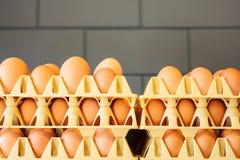 Caixas com ovos frescos na frente de uma parede cinzenta foto de stock