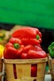 Caixas com pimentas coloridas no mercado Fotografia de Stock Royalty Free