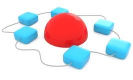 Caixas conectadas isoladas no branco Imagem de Stock