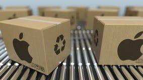 Caixas da caixa com movimento do logotipo de APPLE INC no transporte de rolo Animação 3D loopable editorial vídeos de arquivo