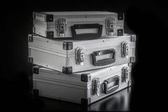 Caixas de alumínio da caixa do metal fotografia de stock