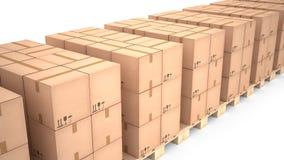 Caixas de cartão em páletes de madeira & em x28; 3d illustration& x29; Fotos de Stock