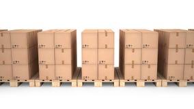 Caixas de cartão em páletes de madeira & em x28; 3d illustration& x29; Imagens de Stock Royalty Free