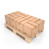 Caixas de cartão na pálete de madeira & no x28; 3d illustration& x29; Fotografia de Stock