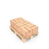 Caixas de cartão na pálete de madeira & no x28; 3d illustration& x29; Foto de Stock Royalty Free