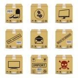 Caixas de cartão do transporte Fotografia de Stock