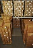 Caixas de Catron no armazém Fotografia de Stock Royalty Free