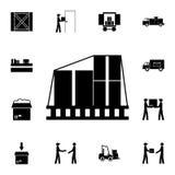caixas de embalagem no ícone do voo Grupo detalhado de ícones logísticos Ícone superior do projeto gráfico da qualidade Um dos íc ilustração do vetor