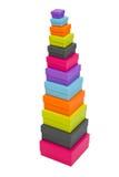 Caixas de empacotamento coloridas empilhadas Imagem de Stock