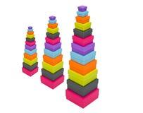 Caixas de empacotamento coloridas empilhadas Fotografia de Stock Royalty Free