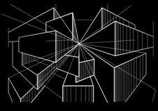 Caixas de esboço arquitetónicas abstratas na perspectiva no fundo preto Foto de Stock Royalty Free