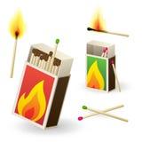 Caixas de fósforos e fósforos Fotografia de Stock Royalty Free