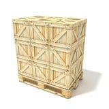 Caixas de madeira na euro- pálete 3d rendem Fotos de Stock Royalty Free