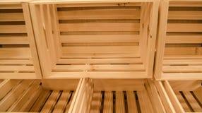 Caixas de madeira para a colheita do fruto Imagem de Stock